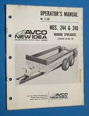 New Idea 244 245 Manure Spreader Farm Equipment Operators Manual 1981