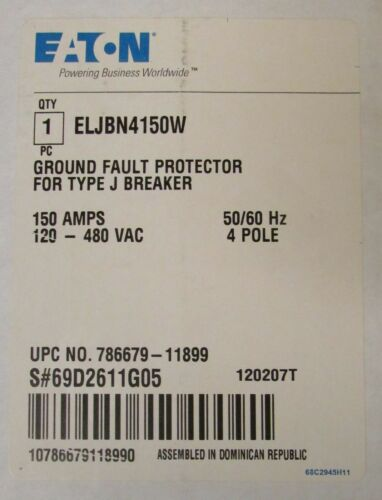EATON CUTLER HAMMER ELJBN4150W J Breaker Earth Leakage Ground Fault Protector