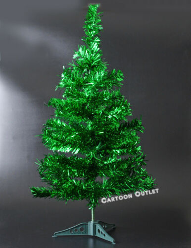 SMALL CHRISTMAS TREE TINSEL METALLIC GREEN ARTIFICIAL 2 FT TABLE TOP STYLE PINE