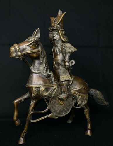 Japanese Antique Okimono Samurai Riding a Horse Statue Ornament(b486) カネ