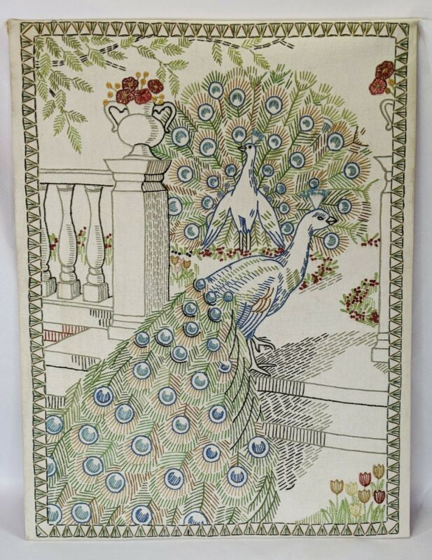 Vintage Completed Crewel Embroidery Needlework Peacocks on Stairs Porch 15x20