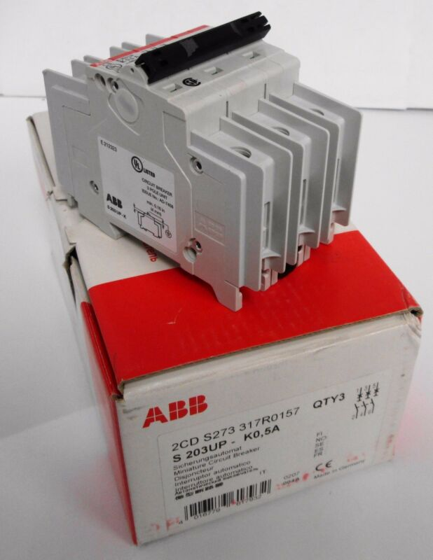 (3) ABB 2CDS273317R0157 S 203UP - K0,5A Miniature Circuit Breakers 3P 0.5A
