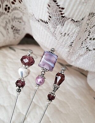 Hat Pins 3 Antique Vintage Inspired Victorian Purple Crystal & Lampwork Beads