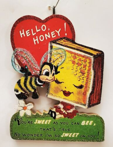 BUMBLE BEE w HONEY COMB, SWEET HONEY * Glitter VALENTINE ORNAMENT * Vtg Img