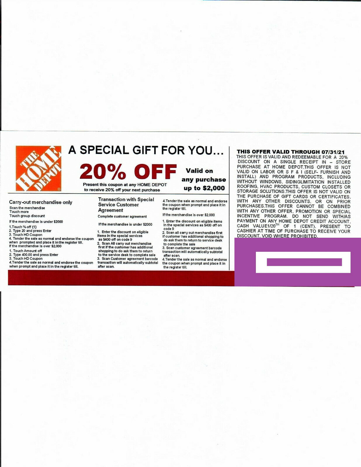 1 20 OFF HOME DEPOT Competitors Coupon At Lowe s Expires 7/31/21 - $20.50