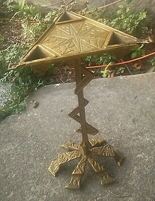 Vintage Ornate Solid Brass Floor Ashtray Pedistal Stand w/ 3 removable holders