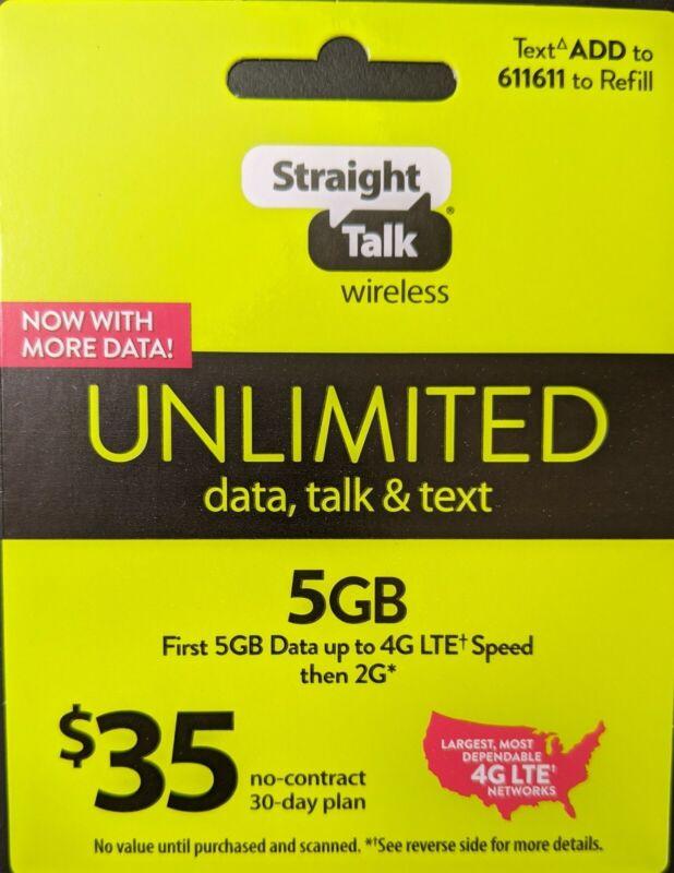 Straight Talk Rob 35 Refill Card 5GB Talk Text Unlimited 30 Day $35 Top Up Plan