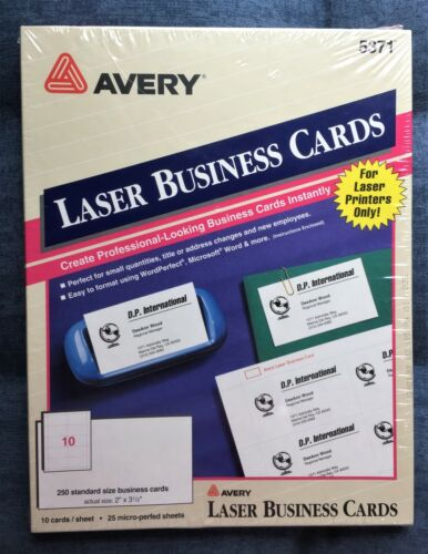 "Avery Laser Microperforated Business Cards 5371, 2"" x 3 1/2"", White, Pack Of 250"