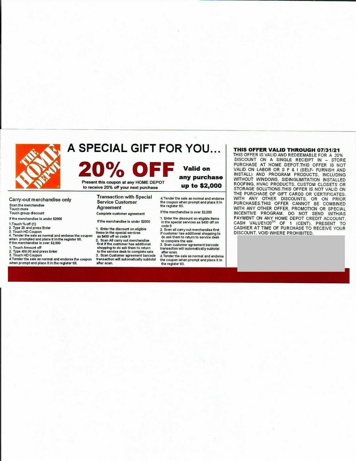 1 20 OFF HOME DEPOT Competitors Coupon Expires 07/31/21  - $5.00