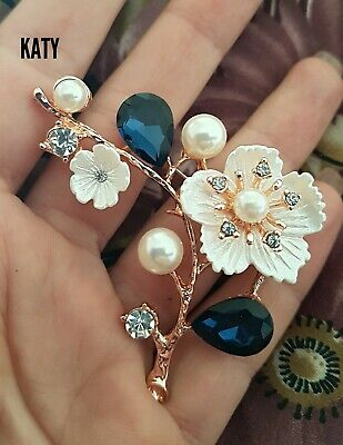 Vintage Style Flower Pearls Gold BROOCH Pin Crystal Royal Blue Crystal  Diamante