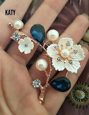 Vintage Style Flower Pearls Gold BROOCH Pin Crystal Royal Blue Crystal  Diamante