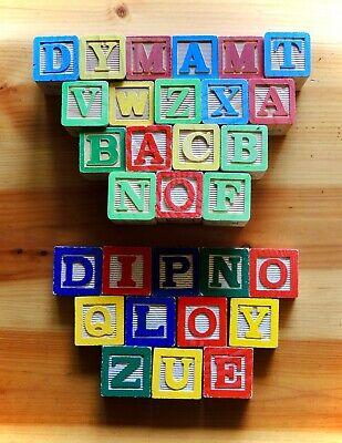 Lot of 30 Vintage Alphabet Wooden Letter Blocks Magnetic