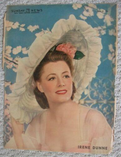 1941  New York Sunday News Irene Dunn Colorfoto 11x15 Photo