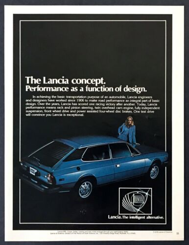 """1978 Lancia Beta HPE Coupe photo """"Performance is Part of Design"""" promo print ad"""