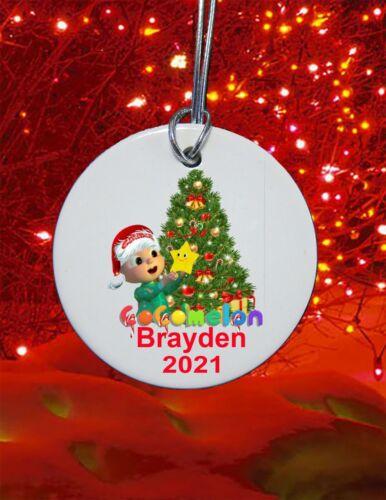 """3"""" ceramic Cocomelon Christmas Ornament  2021 custom personalized"""