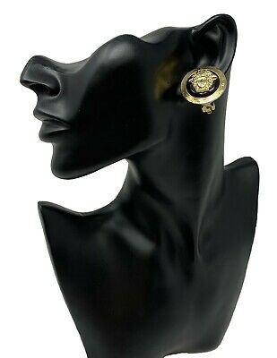 Authentic GIANNI VERSACE Vintage Clip on Earring Medusa Gold Black Rank BC