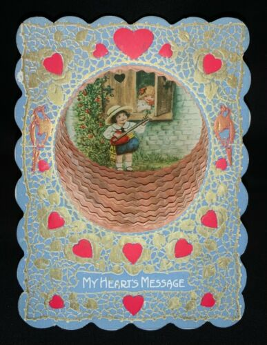 ANTIQUE HONEYCOMB VALENTINE'S DAY CARD - 'MY HEART'S MESSAGE'