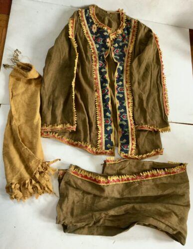 ANTIQUE 1920'S  HALLOWEEN COSTUME INDIAN Jacket Pants & Sack - Maine Estate