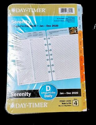 Day-timer Serenity 2-page-per-day Planner Refill Desk Size No 13690 Size 4