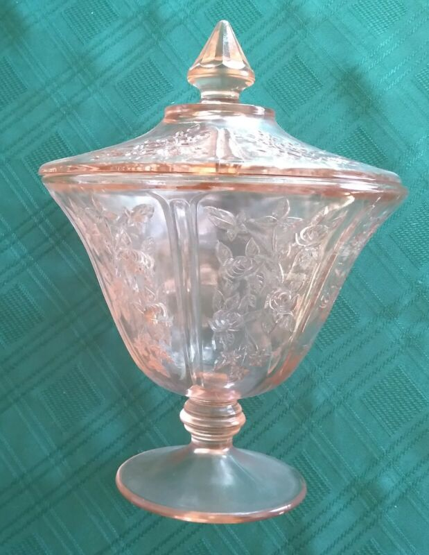 Federal Sharon Pink * Cabbage Rose * Candy Dish W/ Cover * Depression Glass