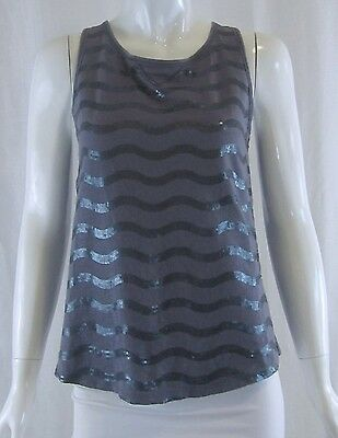 ANTHROPOLOGIE C. KEER Urban Outfitters Purple Sequin Stripe Tank Top Small