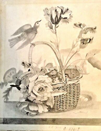 Original 19th c Folk Pencil Drawing Bird w/ Flower Basket Signed CC (EE) Barnes