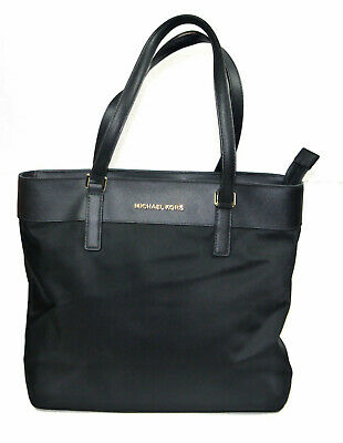 Michael Kors Morgan Black Nylon Top Zip Handbag Tote AB-1903