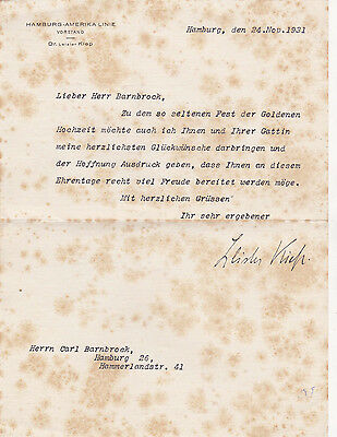 Dr. Louis Leisler Kiep (1884-1962) Autograph Hamburg-Amerika-Linie 1931