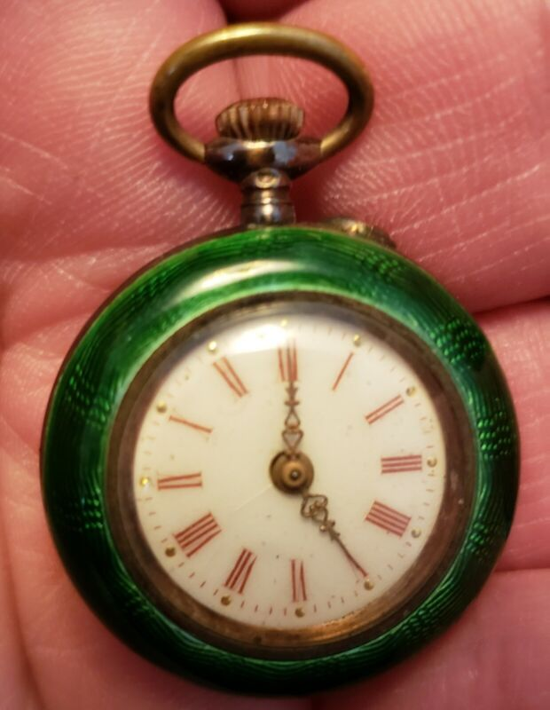 Antique Guilloche Enamel French Argent Dore 800 Silver Pocket Watch 26mm