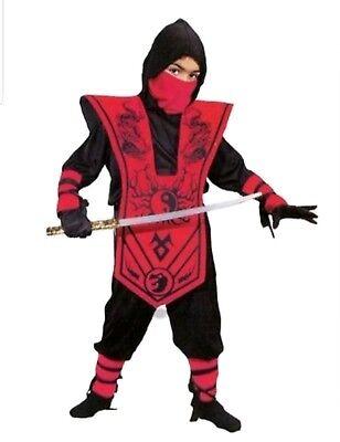 New Boys Red Black Complete Ninja Halloween Costume Size Small 6](Black Ninja Costumes)