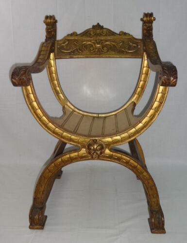 Vintage Decorative Gold Gilt Italian Arm Chair Egyptian Revival 20th Century