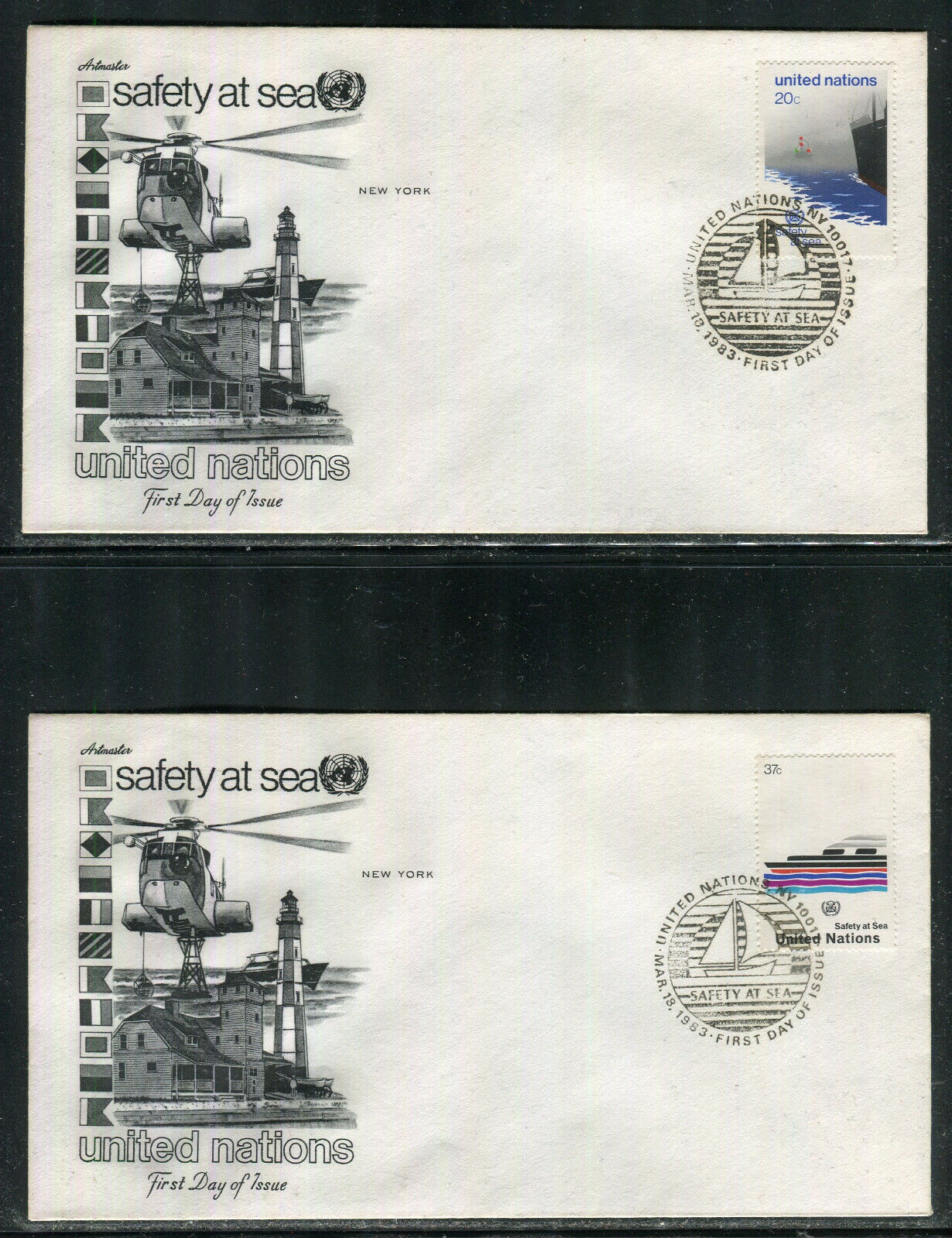 UN-New York 394-395, 1983 Safety At Sea, Artmaster FDC Set No Address - $0.89