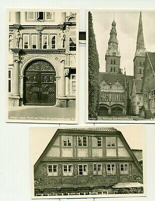 LEMGO (Lippe) 3 alte Karten,Rathaus,Hexenbürgermeisterhaus, Fachwerk, BLANKO....