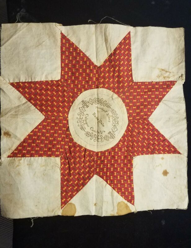 """WONDERFUL 1840-60 SOUTHERN QUILT SQUARE FROM CULPEPPER COUNTY, VA   11"""" X 11"""""""