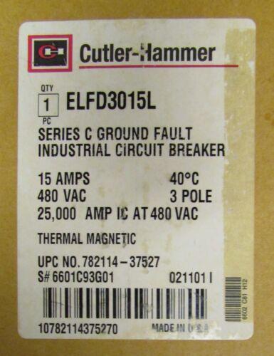 EATON CUTLER HAMMER ELFD Earth Leakage Ground Fault Circuit Breaker ELFD3015L