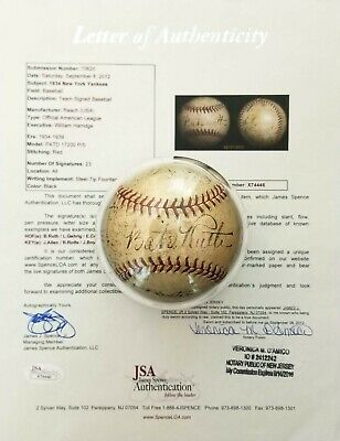 1934 BABE RUTH LOU GEHRIG NEW YORK YANKEES TEAM SIGNED BASEBALL JSA BGS 23 AUTOS for sale  Shipping to Canada
