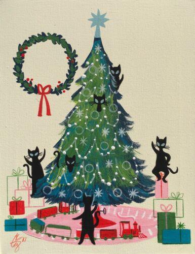 EL GATO GOMEZ RETRO VINTAGE CHRISTMAS TREE HOLIDAY MID CENTURY MODERN CAT KITSCH