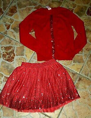 Cat & Jack Baby Girl Red Skirt & Sweater 2 piece Tutu Christmas Sequin Worn 1x L