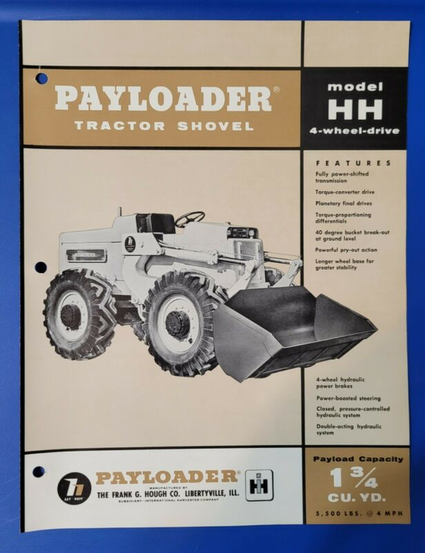 Model HH International Harvester Hough Payloader Tractor Shovel Vintage Brochure