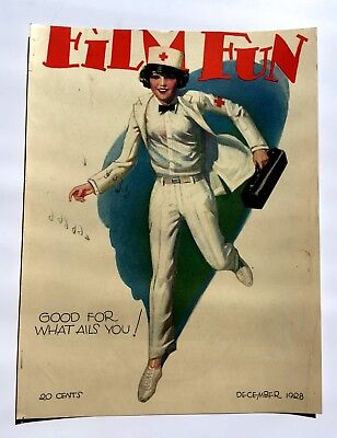December 1928 Film Fun Magazine Cover by Enoch Bolles -- 1920s Style Nurse
