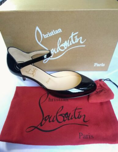 NIB Christian Louboutin Loubis Babes Patent Pump 37 New leather heels Mary Jane