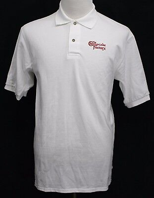 Cheesecake Factory Embroidered Logo Polo Shirt Short Sleeve White Med Pristine