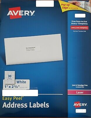 Avery Easy Peel Address Labels 1 X 2-58 120 Labels 5160