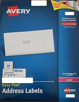 Avery Easy Peel Address Labels 1 X 2-58 120 Labels 5160
