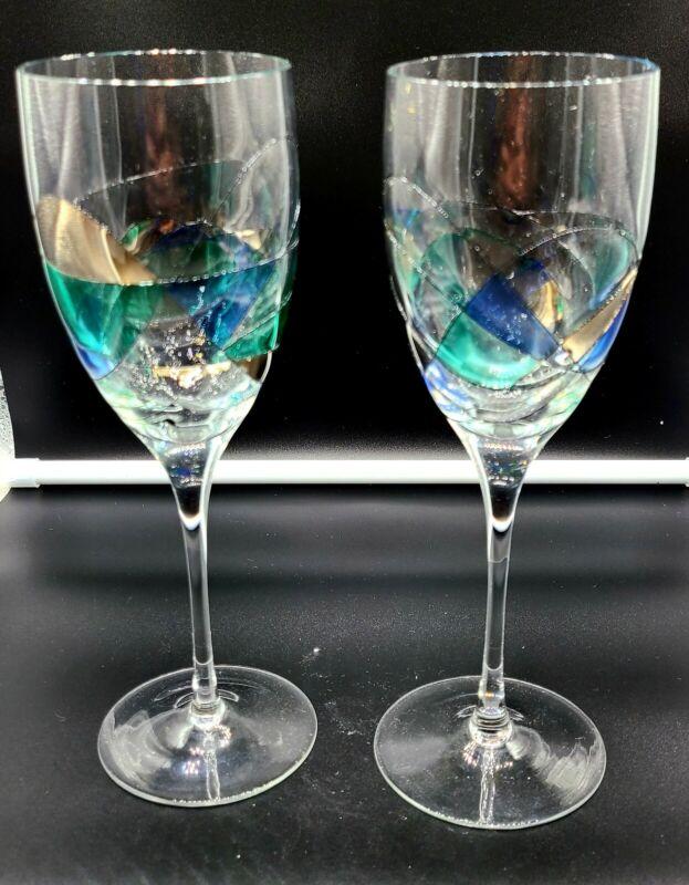 VINTAGE ART DECO WINE GLASSES MULTICOLORED SET OF 2 10IN