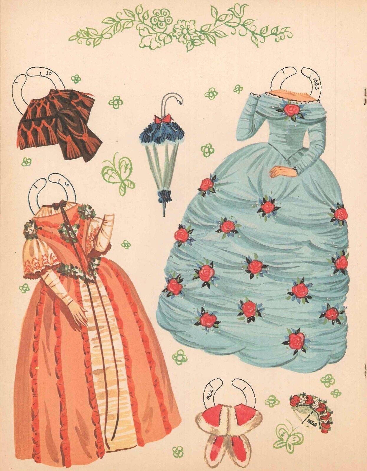 VINTGE UNCUT 1960 LITTLE WOMEN PAPER DOLL ~ORG SZ~LASER REPRODUCTION NO1 FREE SH