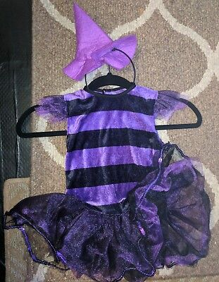 Black and Purple tutu witch Hallowee costume cosplay with hat headband. toddlers