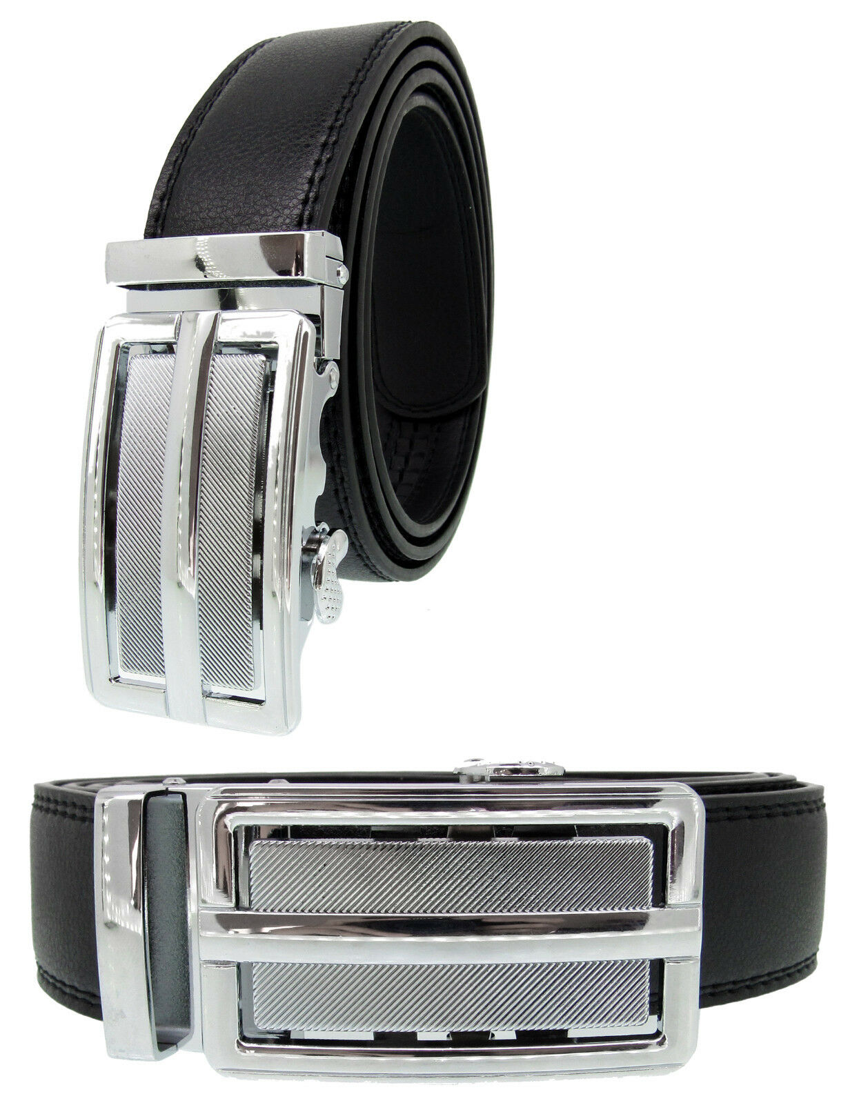 Men Automatic Ratchet Click Lock Black Belt Chrome Buckle Genuine Leather A117 Belts