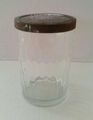 Vintage American Quality Snuff Jar with Tin Lid Since 1872 Optic Glass NICE!