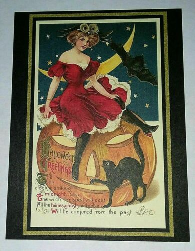 *UNUSED* Halloween Postcard: Pretty Witch Greetings Vintage Image~Reproduction